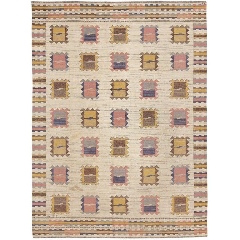 Large Marta-Maas Fjetterström 'Ljusa Plador' Carpet, 1933 For Sale