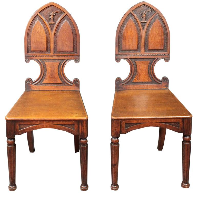 Pair of Antique Hall Chairs For Sale - Pair Of Antique Hall Chairs For Sale At 1stdibs