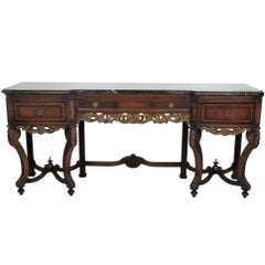 Regency Style Inlaid Marble-Top Console