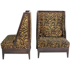 Pair Oversized Leopard Upholstered Lounge Chairs