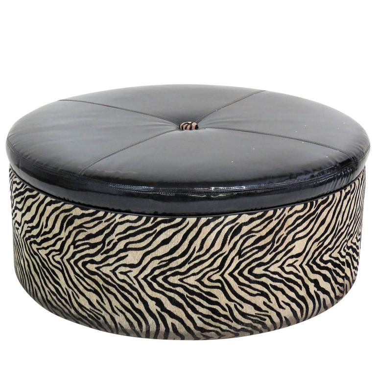 Oversized Leopard Tufted Ottoman For Sale At 1stdibs