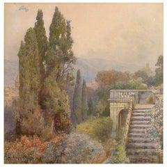 "Ettore Roesler Franz ""Terrace of Villa D'este of Tivoli"""