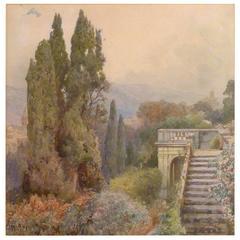 """Ettore Roesler Franz """"Terrace of Villa D'este, Tivoli"""""""