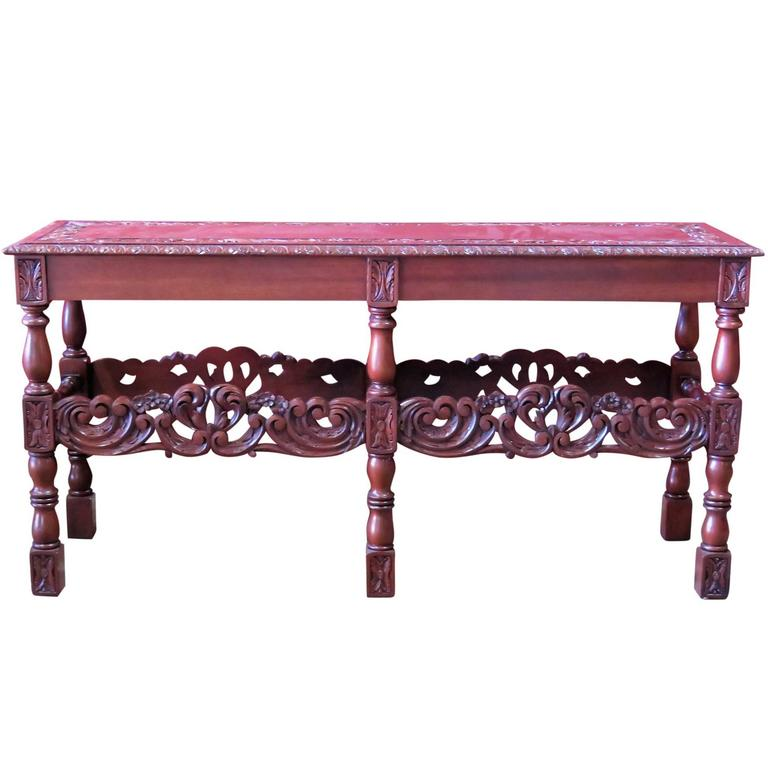 Intricately Carved Walnut Console Table