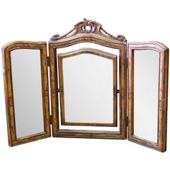 French Style Three-Panel Paint Decorated Vanity Mirror