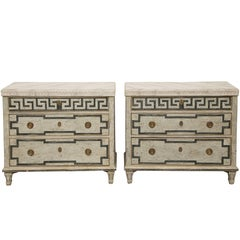 Pair of Antique Swedish Gustavian Style Painted Chests, Late 19th Century