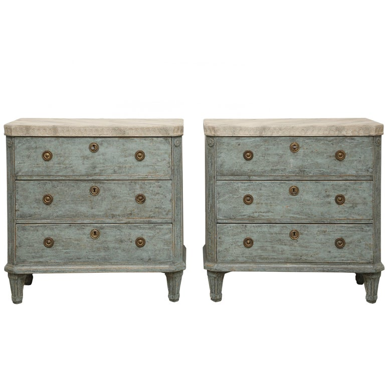 Pair of Antique Swedish Gustavian Style Blue Painted Chests Late 19th Century