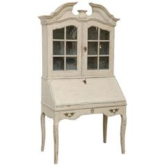 Swedish Baroque Secretary Display Cabinet Painted White Late 18th Century