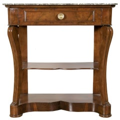 Early 19th Century Charles X Console with Marble Top and Shelf