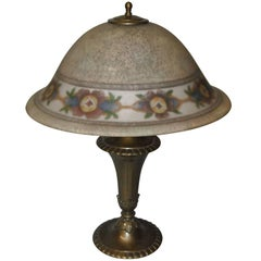 Antique Pairpoint Reverse Painted Floral Border Lamp