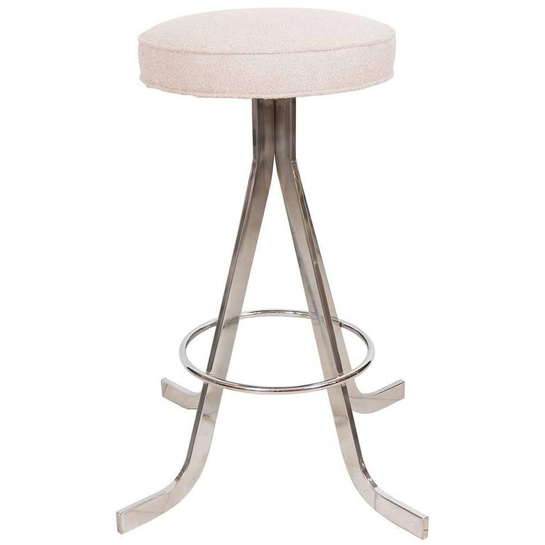 Set of Four Polished Nickel Stools For Sale