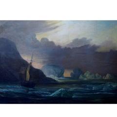 """Frederik Theodor Kloss """"A Sailing Ship Near the Coast"""", Oil on Canvas"""