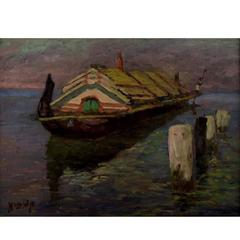"Hugo v. Pedersen, ""An Indonesian River Boat from Java"", Oil on Canvas"