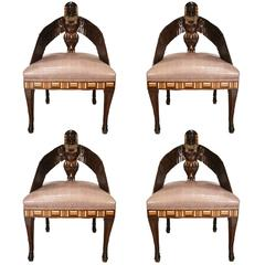 Important Egyptian Style English Mahogany Chairs