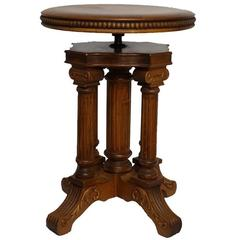 Neoclassical Style Piano Stool, American, 19th Century