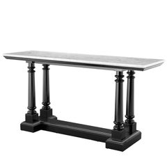 Herbston Console in Lacquered Mahogany Wood and White Marble Top