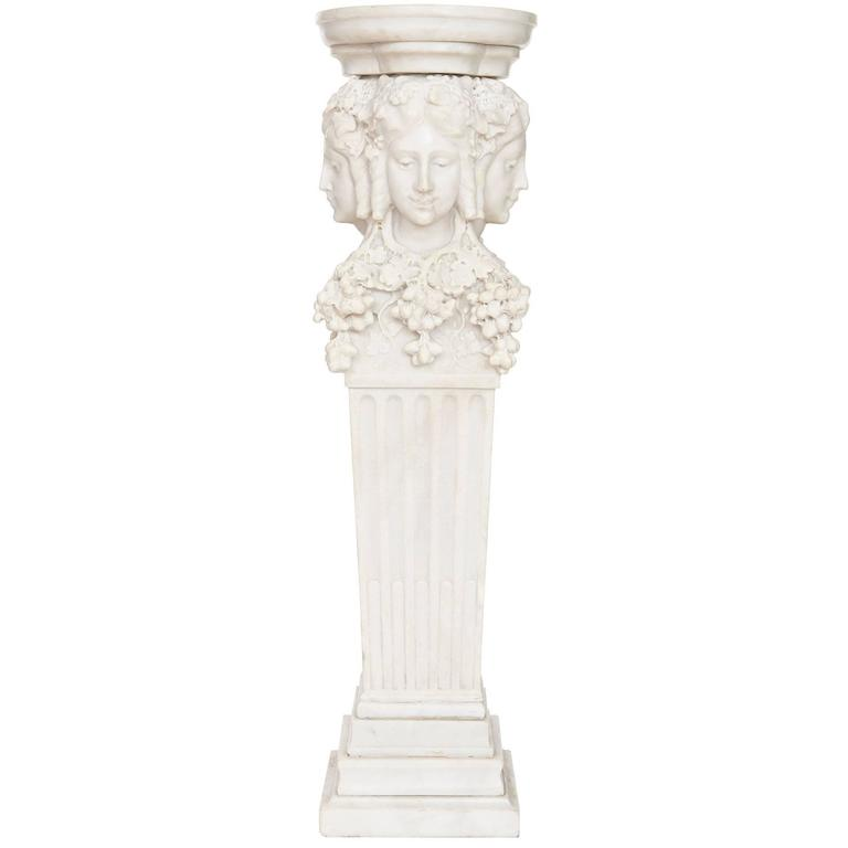 White marble antique italian pedestal with fluted column for Fluted pedestal base
