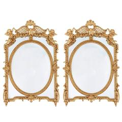 Pair of Antique French Carved Giltwood Mirrors in the Neoclassical Style