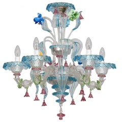 Italian Multicolored Glass Chandelier