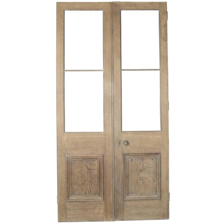 Pair Of Interior Exterior Oak Double Doors French Doors For Sale