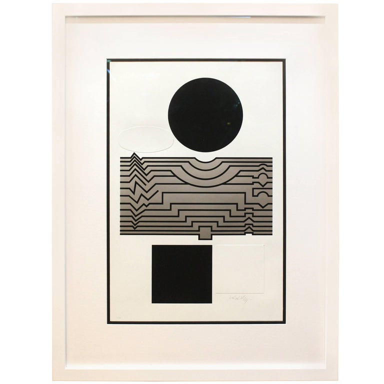 "Victor Vasarely Serigraph, "" Trompette"" 1"