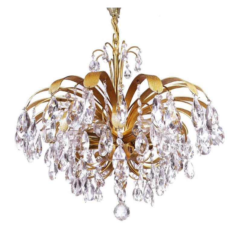 Cascading Crystal Gilt Brass Leaf Chandelier By Palwa Germany - Chandelier leaves crystals