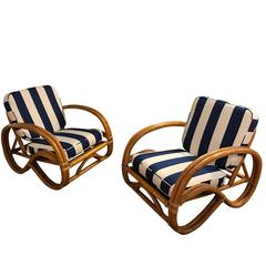 Pair of Paul Frankl Style Double Bamboo Pretzel Lounge Chairs
