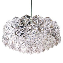 1960 Germany Kinkeldey Large Chromed Crystal Chandelier