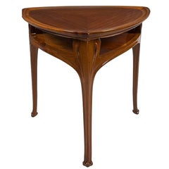 Three Legged Mahogany Table attributed to Eugène Vallin