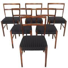 Set of Six Danish Modern Rosewood Dining Chairs by Harry Østergaard