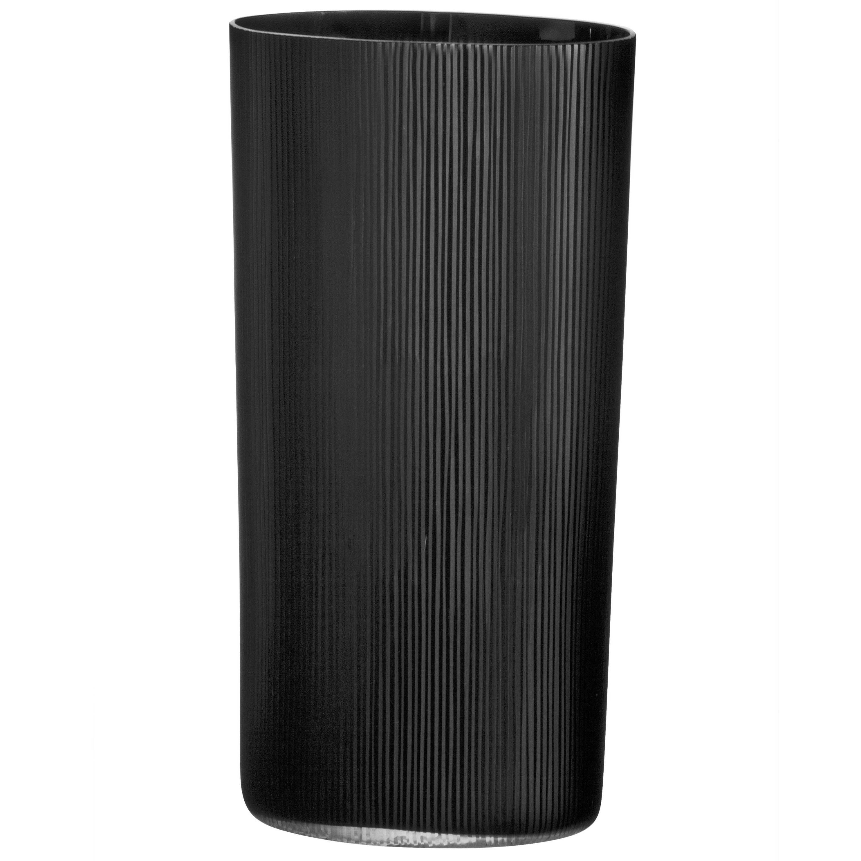 Tall Nero Ovale Millemolature Carlo Moretti Contemporary Murano Glass Vase