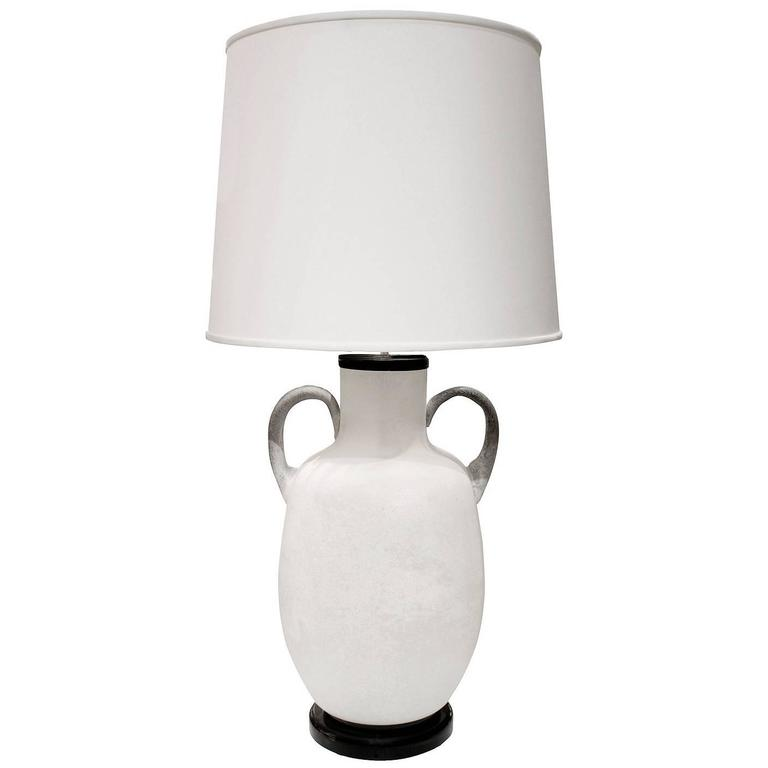 Seguso Large White Scavo Glass Table Lamp, 1960s