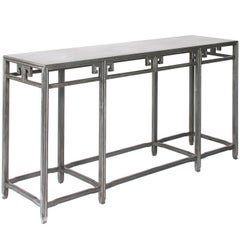 Michael Taylor for Baker Far East Silver Console Table