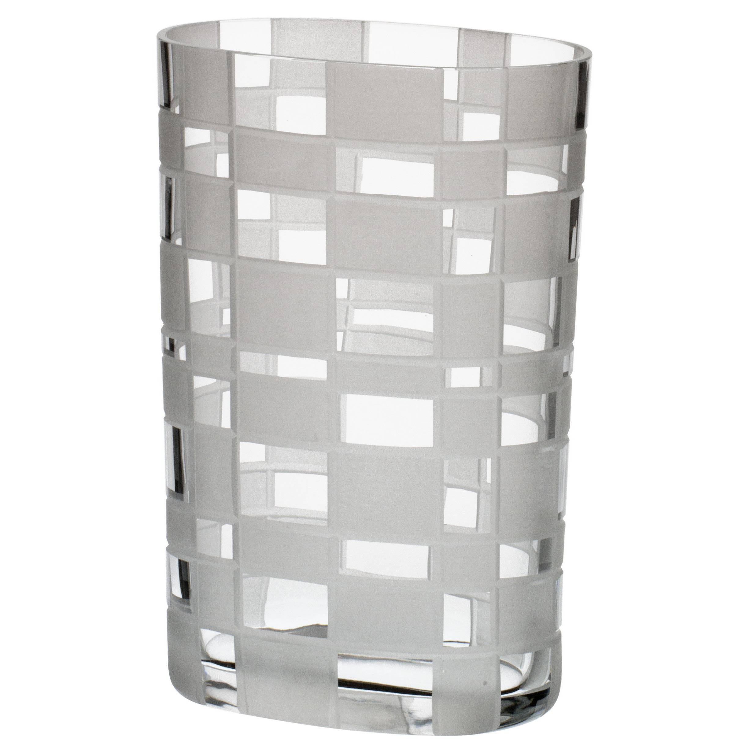 Milleriquadri Carlo Moretti Contemporary Murano Clear Glass Hand Etched Vase