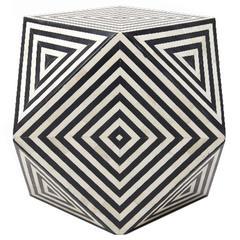 Aelfie Modern Inlayed Bone Striped Mirah Geometric Cube Table