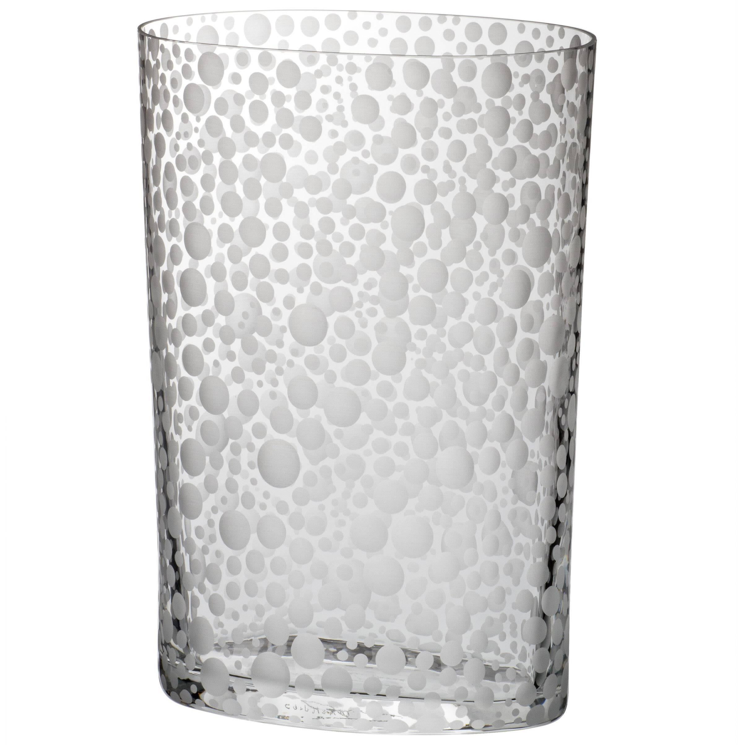Millebolle Carlo Moretti Contemporary Murano Clear Glass Hand Etched Vase
