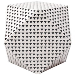 Aelfie Modern Triangular Black and White Geometric Thea Cube Table Stool