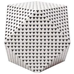 Aelfie Modern Triangular Black and White Geometric Thea Cube Table Stool