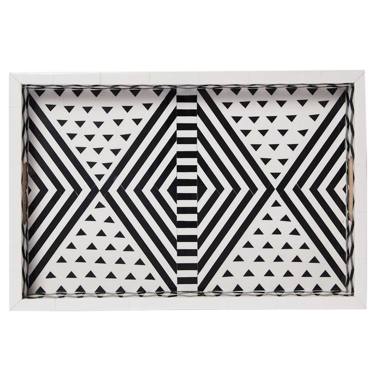 Aelfie Modern Striped Geometric Black and White Bone Inlay Tray 1