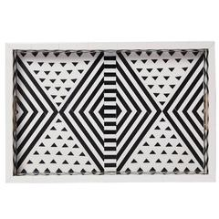 Aelfie Modern Striped Geometric Black and White Bone Inlay Tray