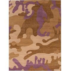 Camouflage Rug Wool with Metallic Thread