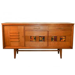 1950 Sideboard in Oak and Ceramic