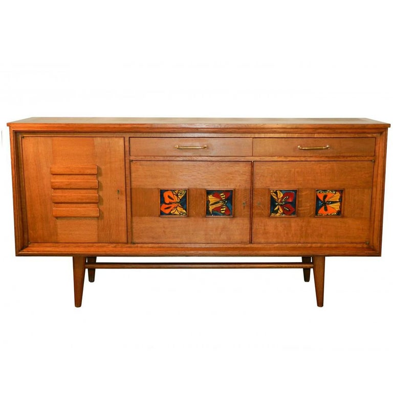 1950 Sideboard in Oak and Ceramic
