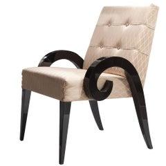 Armchair with Dark Walnut Wood Finish