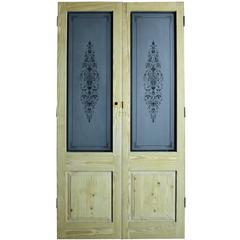 Pair of Reclaimed Pine Double Doors with Etched Glass
