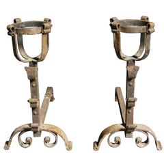 Pair of Antique French Wrought Iron Fire Dogs