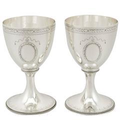 1969 Pair of Sterling Silver Goblets by C J Vander
