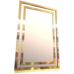 A Large Romeo Rega Style brass Mirror with smoked mirror