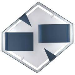Blue Metal Wall Light Hexagonal Sculpture by Gio Ponti