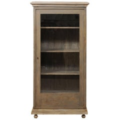 European Painted Wood Vitrine or Cabinet with Glass Front and Adjustable Shelves